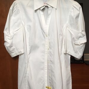 Brooks Brothers white blouse balloon sleeves